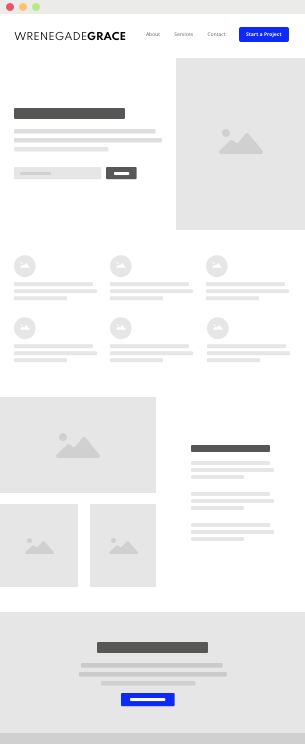 A homepage wireframe sample